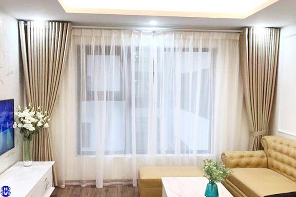 Bộ rèm cửa chống nắng cách nhiệt bằng vải cao su trang trí căn phòng
