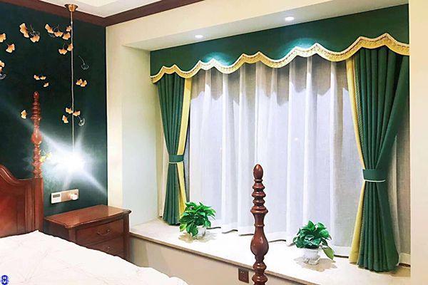 Rèm cửa màu xanh lá phòng ngủ hợp gia chủ bản mệnh mộc