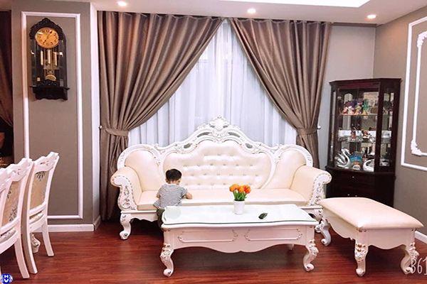 Rèm cửa rẻ đẹp cho phòng khách biệt thự thi công trọn gói ở Hà Nội