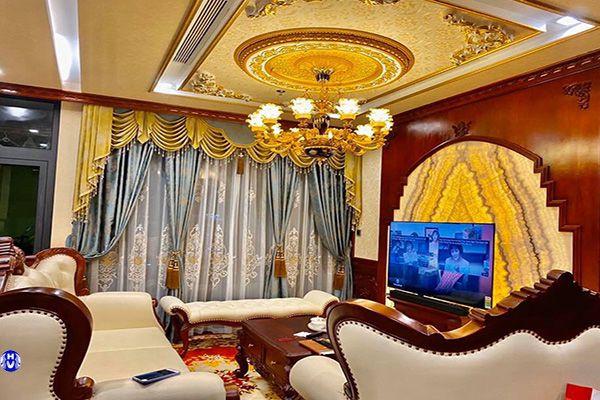 Rèm cửa sổ vải nhập khẩu thiết kế tân cổ điển cho phòng khách lắp tại hàng lược
