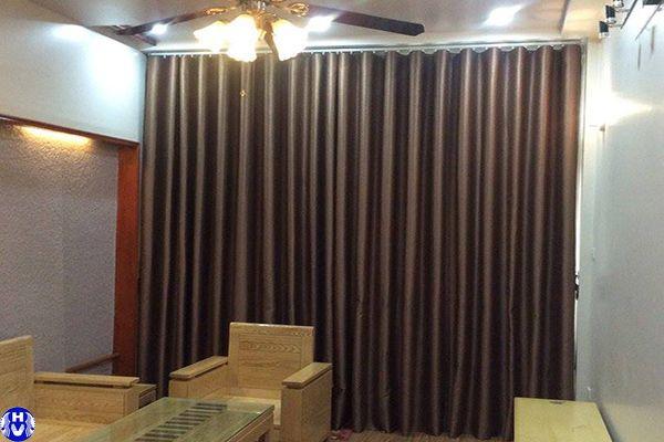 Rèm vải 1 lớp cao cấp phòng khách nhà phố tại quán sứ hoàn kiếm