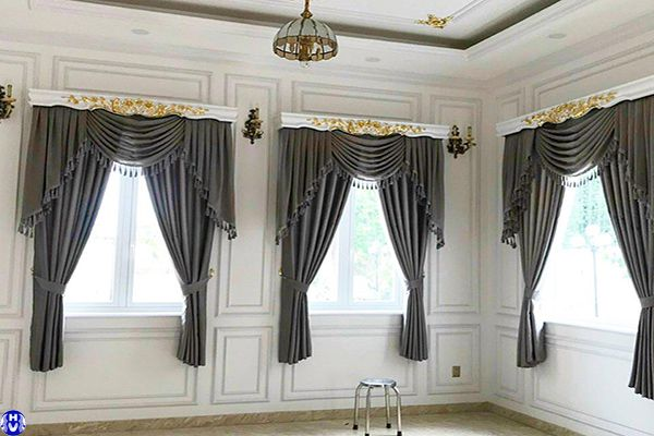 Rèm vải 1 lớp cửa sổ màu xám lắp tại đường trúc bạch ba đình