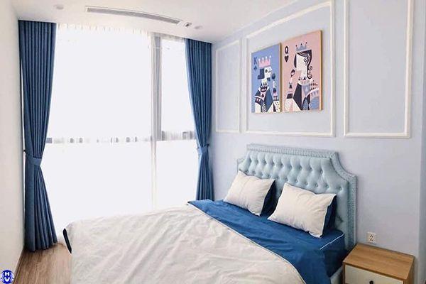 Rèm vải 1 lớp màu xanh phòng ngủ cho bé nhà anh quyền ở ba đình