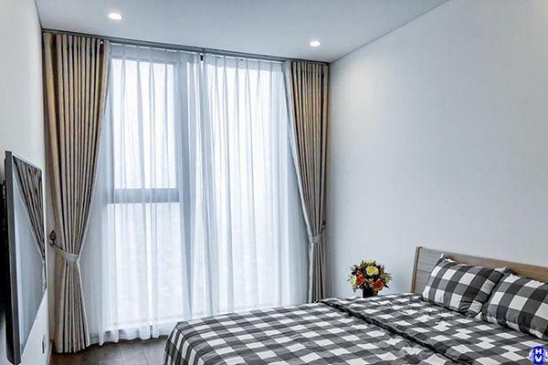 Rèm vải 2 lớp cách nhiệt phòng ngủ nhà khách hàng tại cầu giấy