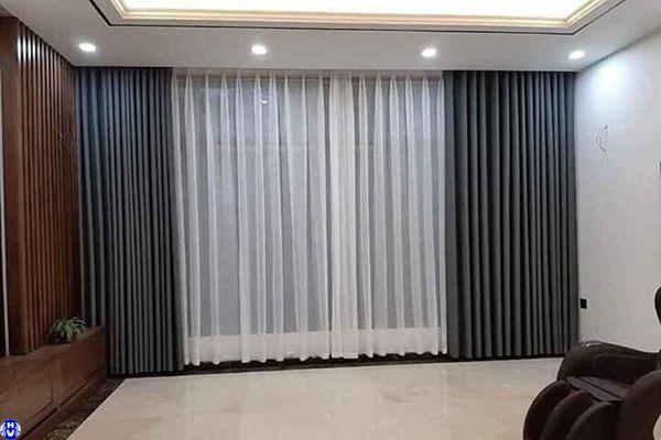 Rèm vải 2 lớp cao cấp cho phòng khách nhà chị hà tại hà đông