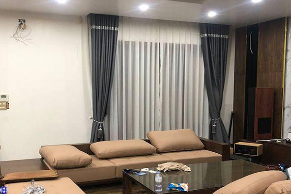 Rèm vải 2 lớp cửa sổ cho nhà biệt thự tại yên thường gia lâm