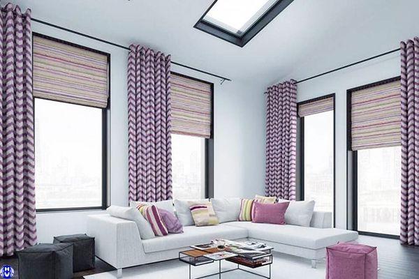 Rèm vải 2 lớp cửa sổ màu tím lắp biệt thự sang trọng