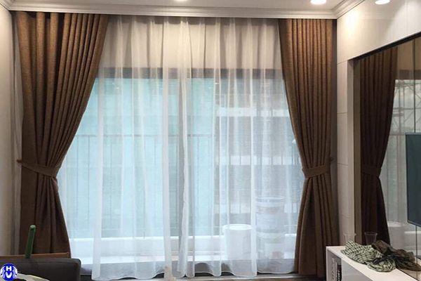Rèm vải 2 lớp giá rẻ lắp đặt phòng khách chung cư tại hà đông hà nội
