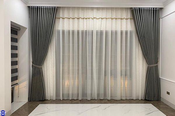 Rèm vải 2 lớp giá rẻ lắp nhà mặt mặt phố dương quang gia lâm