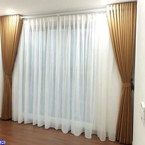 Rèm vải 2 lớp giá rẻ phòng khách nhà an thập ở bắc từ liêm