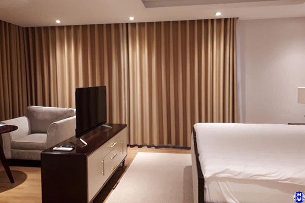 Rèm vải cao cấp lắp đặt khách sạn ở hoàng hoa thám ba đình