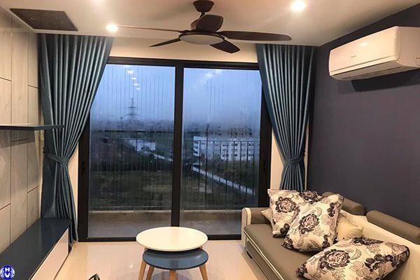 Rèm vải cửa sổ 1 lớp nhập khẩu theo màu tường phòng khách