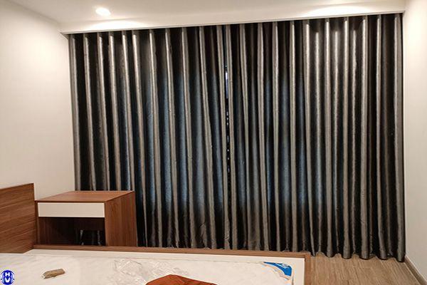 Rèm vải cửa sổ 1 lớp phòng ngủ chung cư nguyễn xiển thanh trì