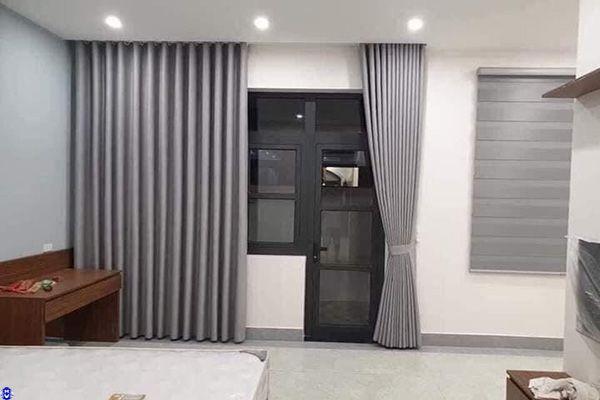 Rèm vải cửa sổ 1 lớp thiết kế cho nhà chung cư tam chinh hai bà trưng