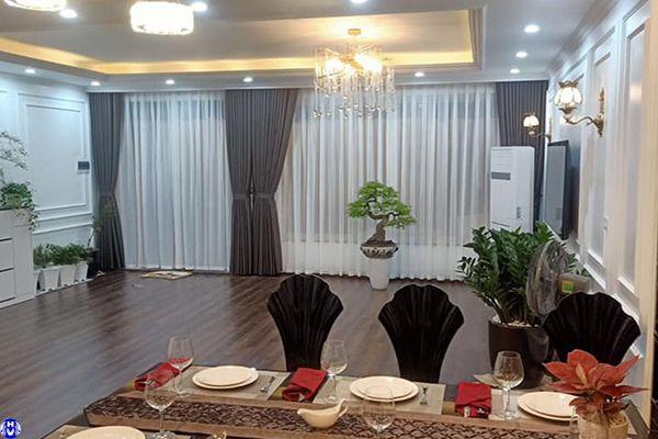 Rèm vải cửa sổ 2 lớp cotton cản sáng chống ồn cho phòng khách thiết kế tại Hà Nội