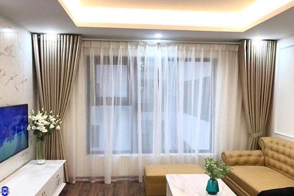 Rèm vải cửa sổ 2 lớp đẹp giá rẻ lắp chung cư làng việt kiều châu âu hà đông