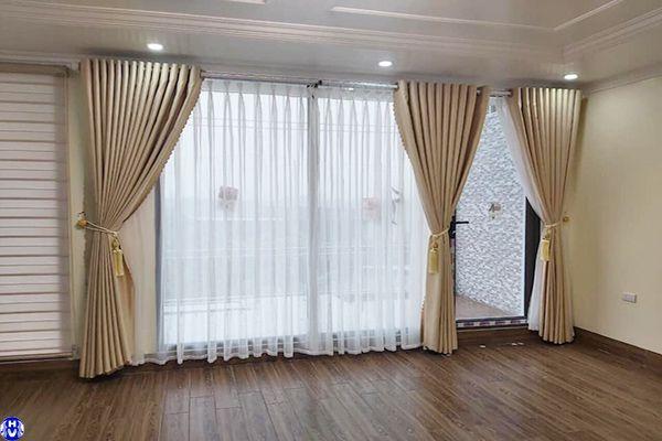 Rèm vải cửa sổ 2 lớp giá rẻ cách nhiệt phòng ngủ thiết kế tại Hà Nội