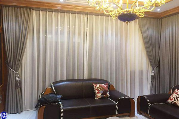 Rèm vải cửa sổ 2 lớp phòng khách biệt thự vĩnh quỳnh thanh trì