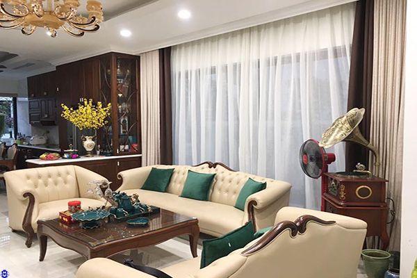 Rèm vải cửa sổ 2 lớp phòng khách cản nhiệt hiện đại đẹp