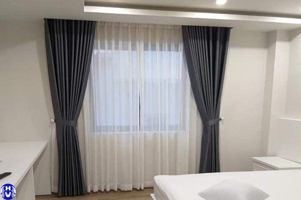 Rèm vải cửa sổ chất liệu lụa cao cấp lắp tại đường hà trì hà đông
