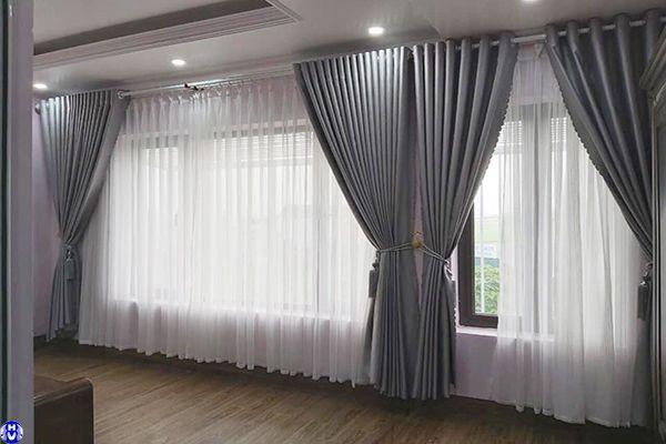 Rèm vải cửa sổ đẹp kéo tay chống nắng lắp đặt cho gia đình tại hà nội
