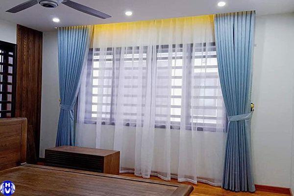 Rèm vải giá rẻ cho phòng ngủ lắp đặt tại long biên hà nội