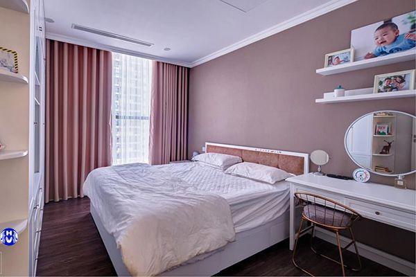 Rèm vải màu hồng phòng ngủ cho bé nhà chị mai hà đông