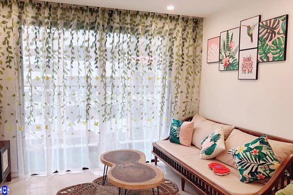 Thi công rèm vải voan cửa sổ họa tiết phòng khách lê quý đôn hà đông
