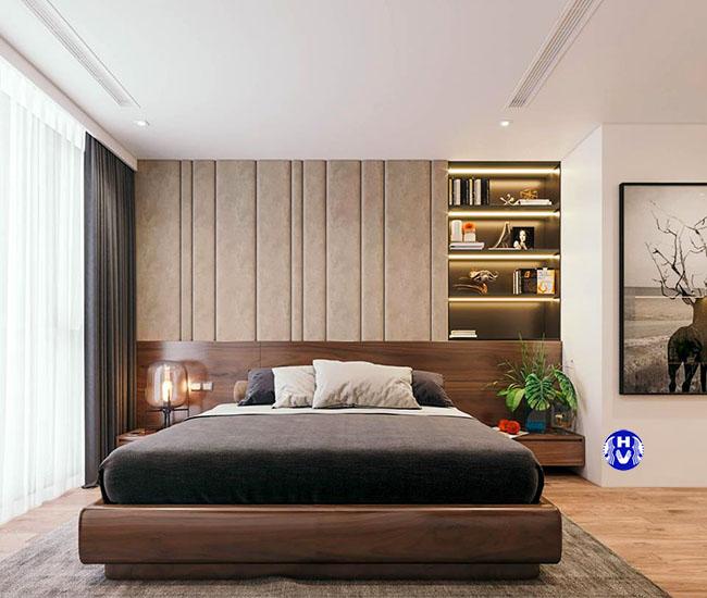 Bộ rèm cao cấp màu xám tro phù hợp với màu của ga giường