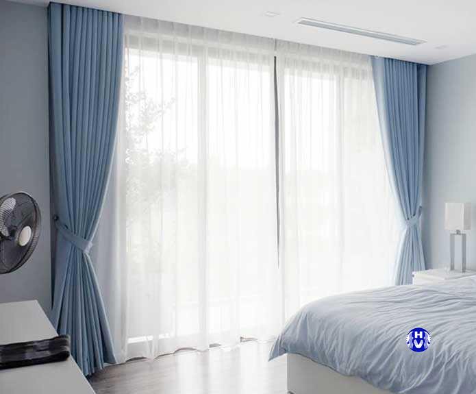 Bộ rèm cửa sang trọng phòng ngủ màu xanh ngọc nhẹ nhàng
