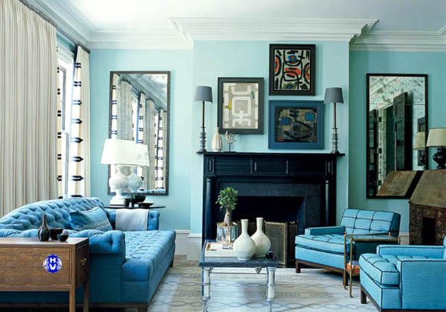 Bộ rèm cửa sổ trang trí phòng khách mang phong cách địa trung hải