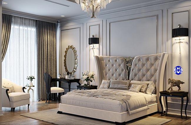 Mẫu rèm cửa cao cấp tôn lên nội thất phòng ngủ kiểu pháp