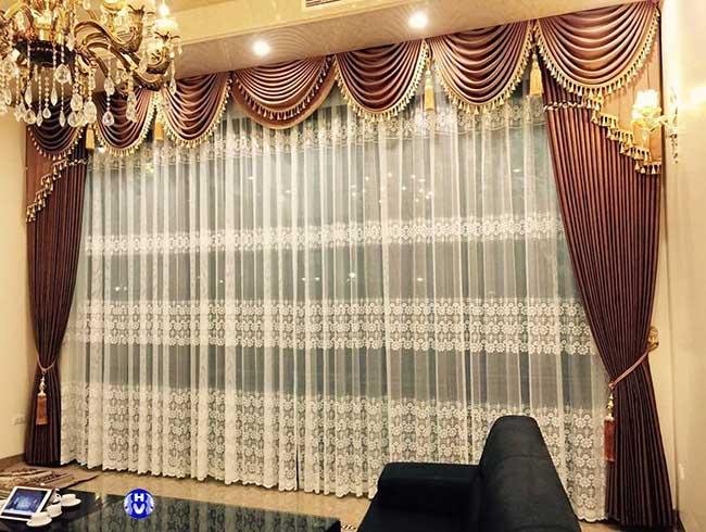 Rèm cửa 3 lớp phòng khách theo phong cách châu âu hiện đại