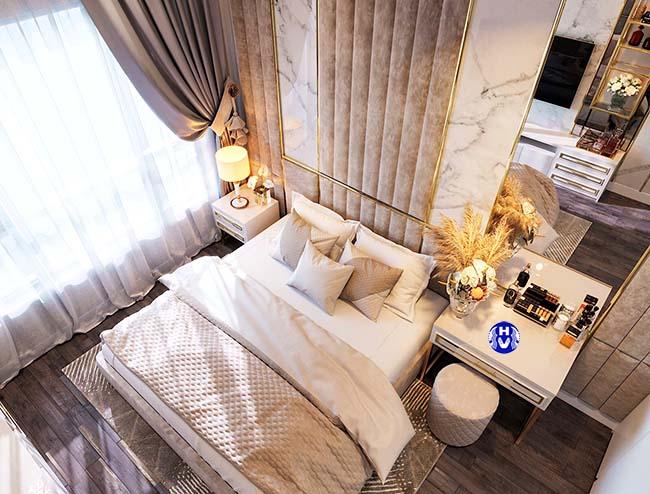 Mẫu rèm cửa sổ được kết hợp cùng tone màu sàn nhà bằng gỗ