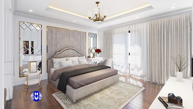 Nhìn tổng thể bộ rèm cửa cao cấp phòng ngủ master