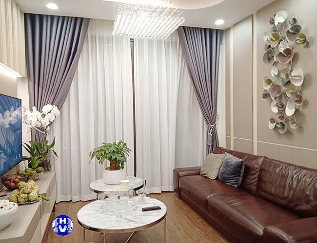 rèm cửa cao cấp 2 lớp cho phòng khách chung cư vinhome cầu giấy