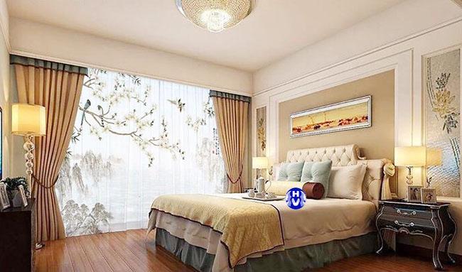 rèm cửa phòng ngủ màu vàng chanh