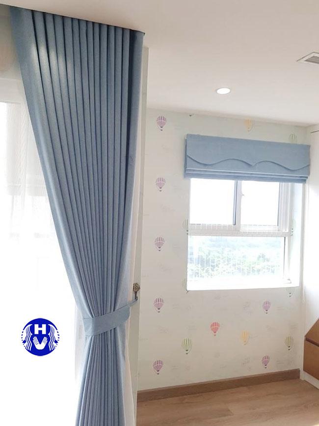 rèm cửa phòng ngủ một lớp màu xanh nước biển