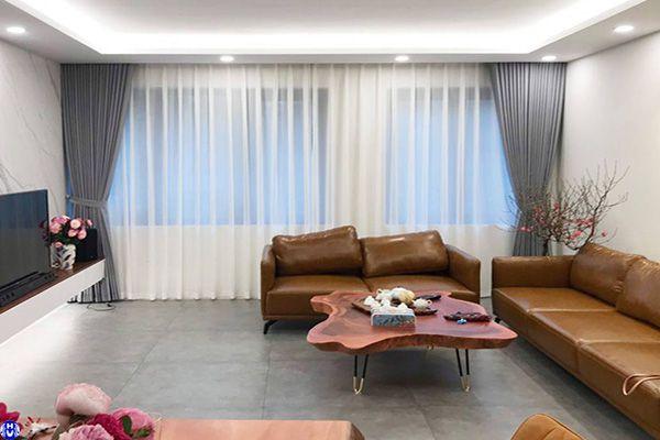 rèm vải lanh một màu treo cửa sổ phòng khách đường đặng phúc thông gia lâm