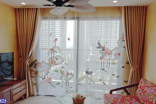 rèm vải voan hoa văn trang trí cửa sổ ấn tượng lắp đường đông mỹ thanh trì