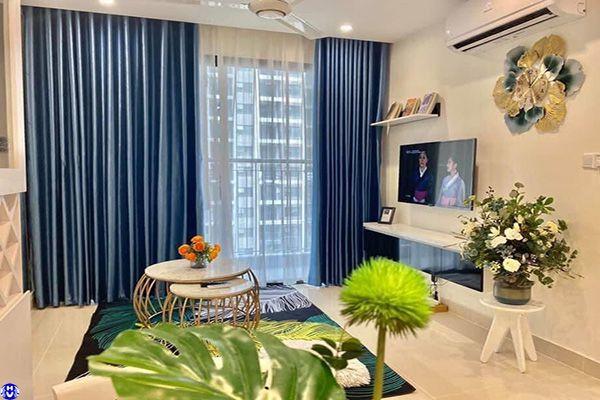 Rèm cửa rẻ đẹp phòng khách may bằng vải 2 lớp chống nắng