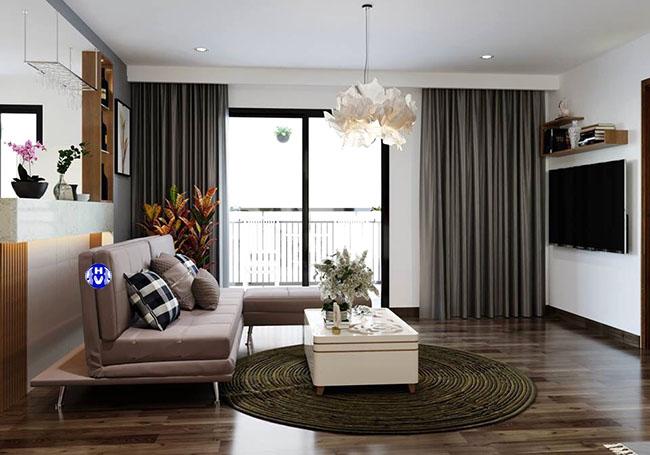 Mẫu rèm cửa màu xám 2 lớp tạo bầu không khí yên tĩnh cho căn phòng khách chung cư hiện đại