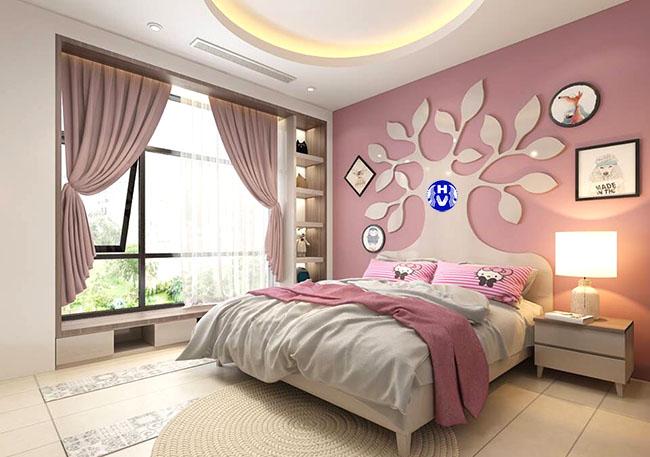 Mẫu rèm vải màu hồng giá rẻ thiết kế nhẹ nhàng cho gia chủ tại Hà Nội