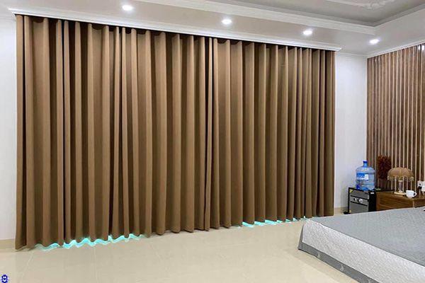 rèm vải bố 1 lớp giá rẻ cửa sổ cho phòng ngủ lắp Hà Nội