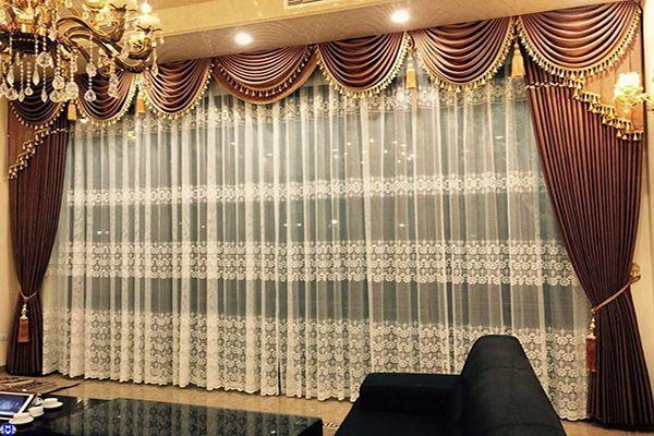 rèm vải cotton cửa sổ giá rẻ cho phòng khách lắp đặt Hà Nội