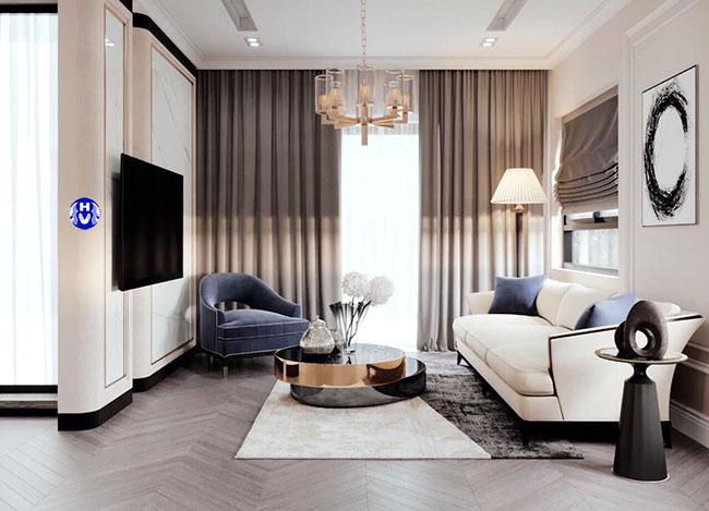 Sắc màu rèm cửa làm căn phòng khách trở lên đẹp khác lạ trong kiến trúc hiện đại