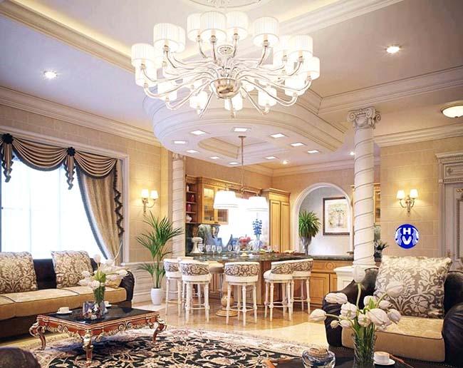 Thiết kế mẫu rèm cửa phòng khách đẹp cho không gian căn biệt thự với khung cửa lớn