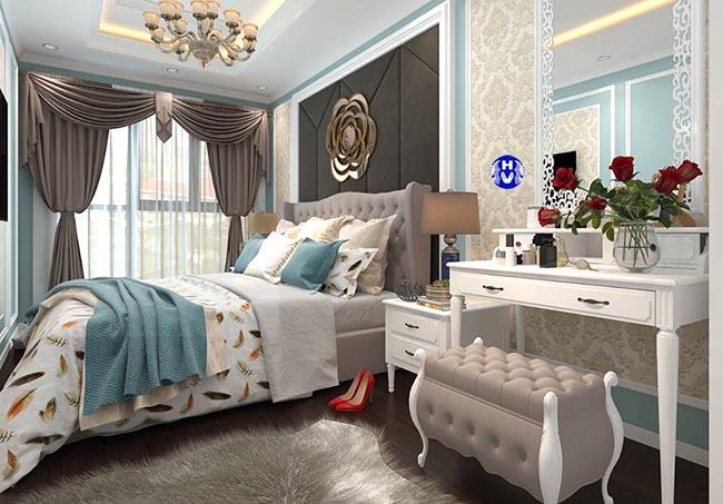 Tông màu nhẹ nhàng luôn là sự lựa chọn hàng đầu cho những mẫu rèm phòng ngủ giá rẻ
