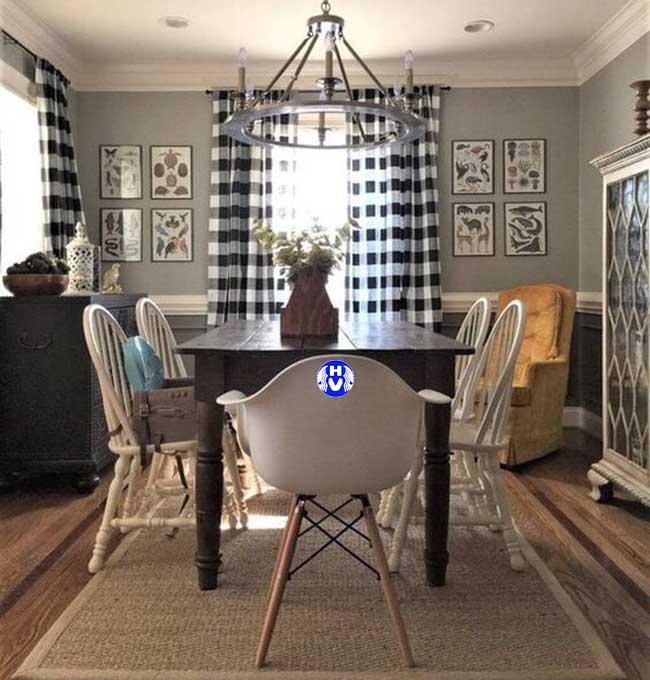 căn phòng khách được tô điểm hài hòa bởi mẫu rèm cửa đẹp đồng nhất cùng nội thất