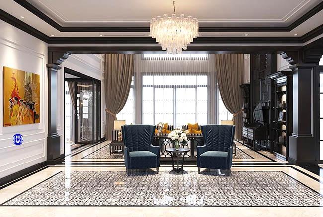 Một hình ảnh về không gian sống hiện đại được phối kết hợp bởi rèm cửa cùng nội thất